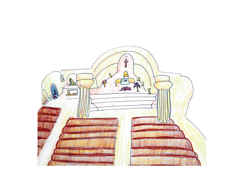 Illustration of church alter and pews