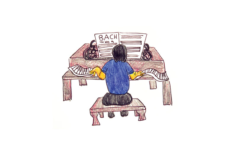 Illustration of father playing piano.