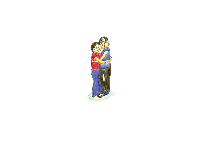Illustration of father and son embracing.