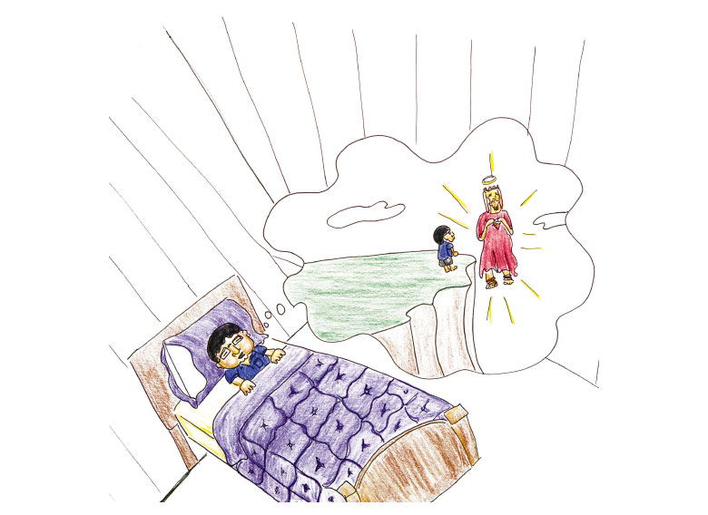 Illustration of boy in bead, dreaming.